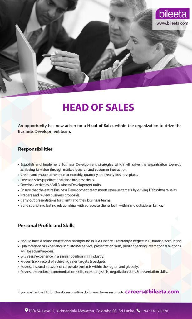 Head of sales Vacancy at Bileeta
