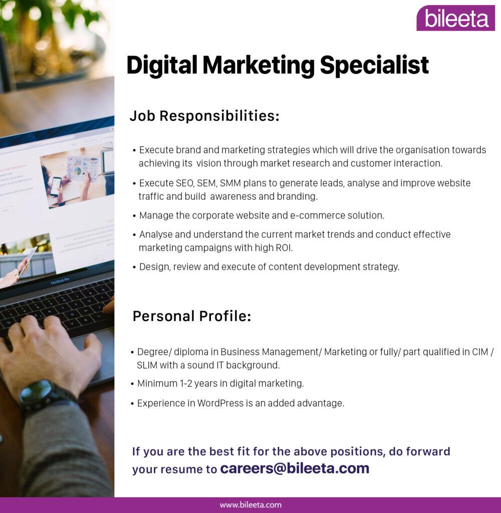 Digital Marketig Specialist job at Bileeta