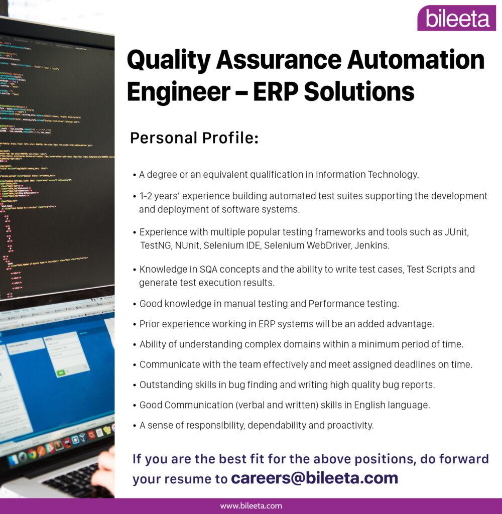Quality Assurance Engineer Automation job